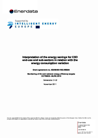 Energy savings for ESD end-use and sub-sectors