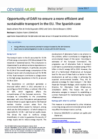 Opportunity of DAFI to ensure a more efficient and sustainable transport in the EU. The Spanish case.