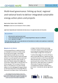 Multi-level governance: linking up local, regional and national levels to deliver integrated sustainable energy action plans and projects